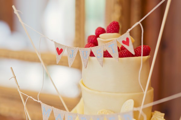 Timeless Modern Hydrangea Wedding Cake Bunting Topper http://www.cottoncandyweddings.co.uk/