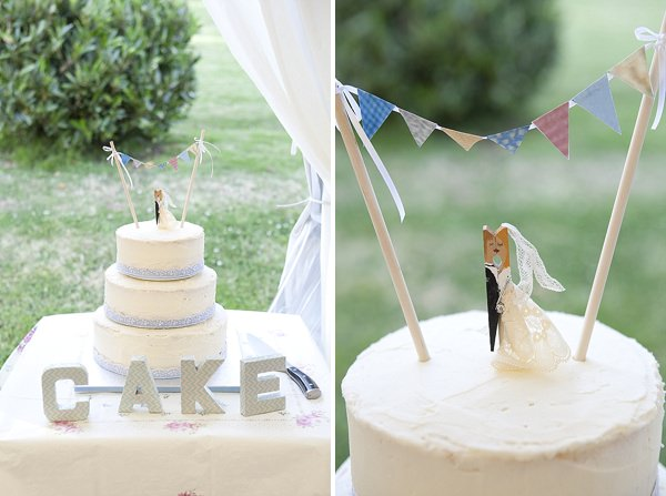 Crafty Colourful Country Wedding Rustic Homemade Bunting Cake http://matildarosephotography.com/