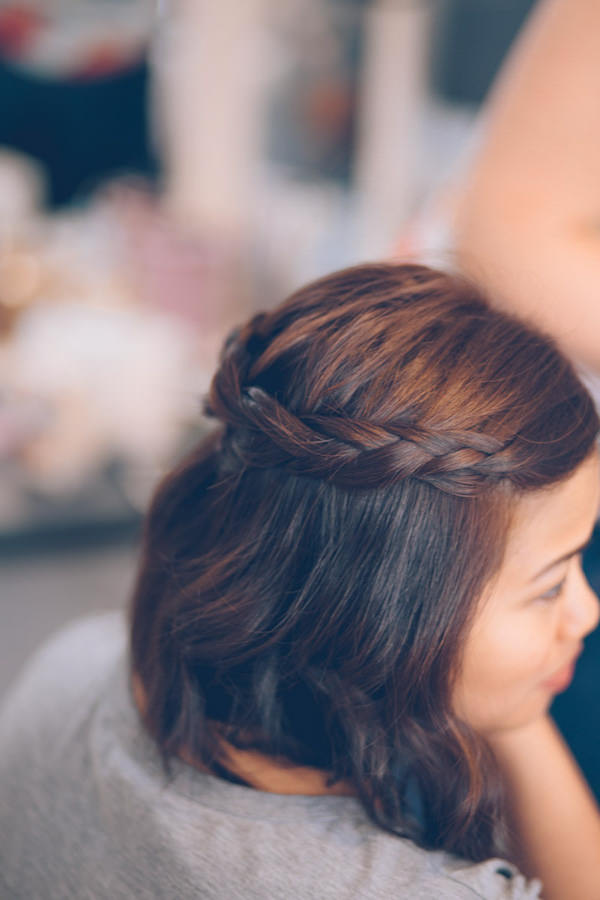 Bridesmaid Plait Briad Hair Style Vintage 1940s London Wedding http://storyandcolour.co.uk/
