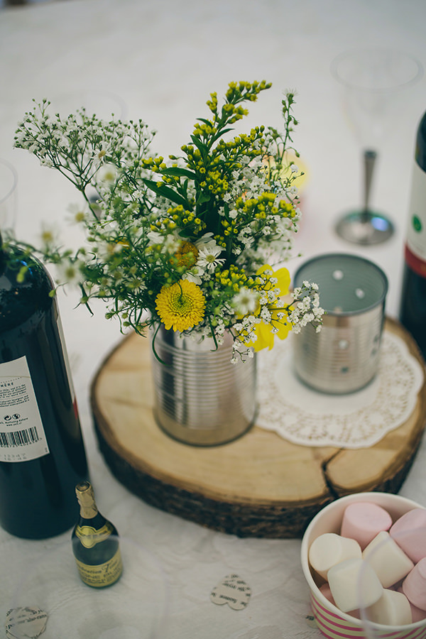 Quirky Campsite Outdoor Wedding Daisy Tin Can Flowers http://www.lifelinephotography.co.uk/