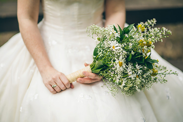 Quirky Campsite Outdoor Wedding Daisy White Yellow Bridal Bouquet  http://www.lifelinephotography.co.uk/