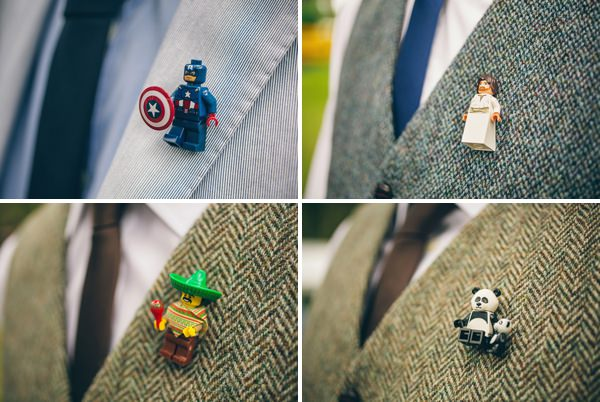 Quirky Campsite Outdoor Wedding Lego Buttonholes  http://www.lifelinephotography.co.uk/