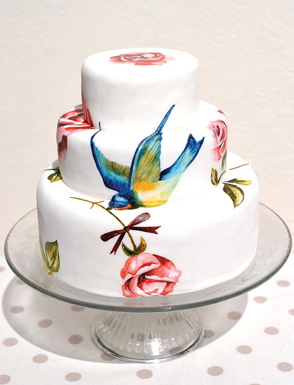 Swallow Rose Wedding Cake Painted MurrayMe