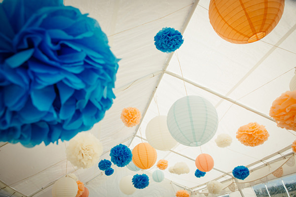 Fun Camping Country Outdoor Wedding Pom Poms Lanterns http://www.frecklephotography.co.uk/