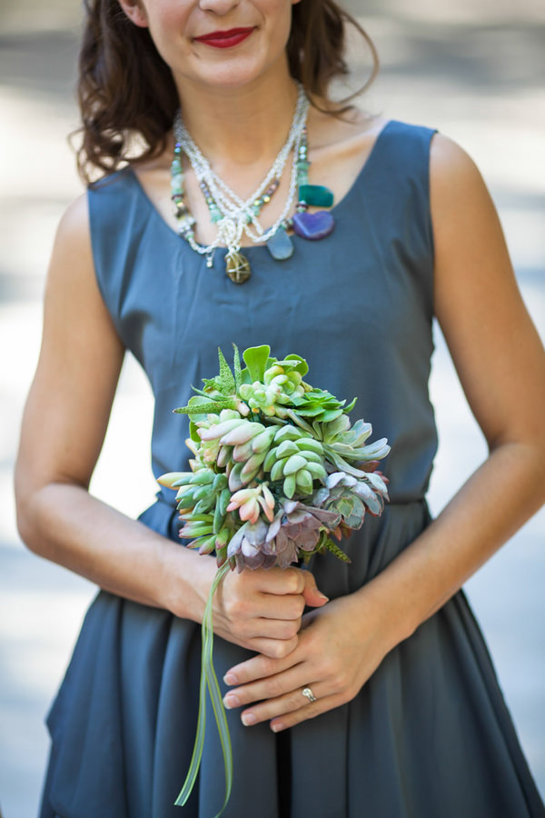 Artistic Post-Apocalyptic Nature Woodland California Wedding Blue Bridesmaid Succulent Bouquet Necklace  http://www.lovatoimages.com/