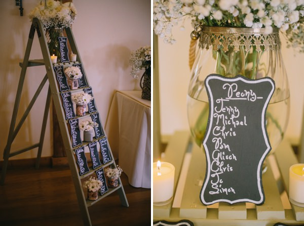 Stylish White DIY Floral Filled Barn Wedding Ladder Table Plan Flowers Chalk Blackboard  http://www.chrisbarberphotography.co.uk/