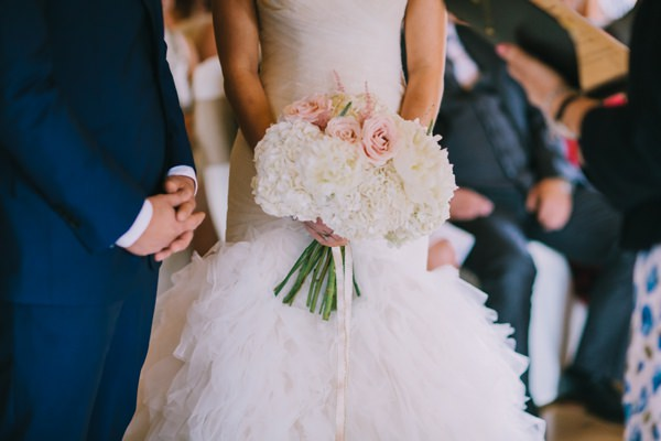 Stylish White DIY Floral Filled Barn Wedding Peonies, Roses, Hydrangea and Astilbe White Pink Bridal Bouquethttp://www.chrisbarberphotography.co.uk/