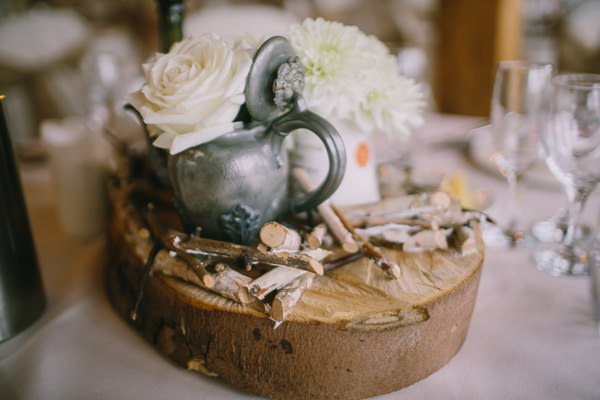 Stylish White DIY Floral Filled Barn Wedding TeaPot Flowers http://www.chrisbarberphotography.co.uk/