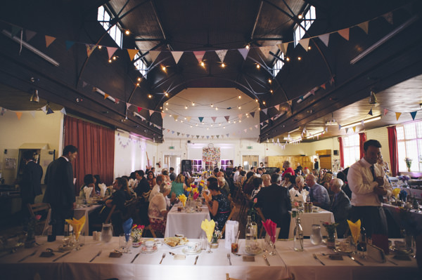 Church Hall Bunting Lighting Classic Vintage Street Party Wedding http://www.ilovestories.co.uk/