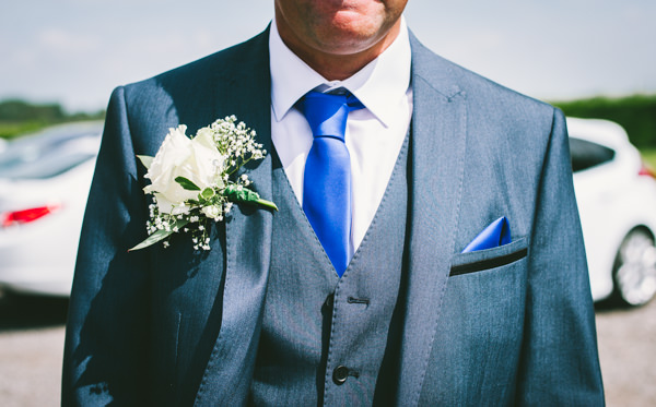 Home Grown White Flower Filled Wedding Rose Gypsophila Buttonhole Grey Suit Blue Tie Groom  http://www.alextentersphotography.co.uk/