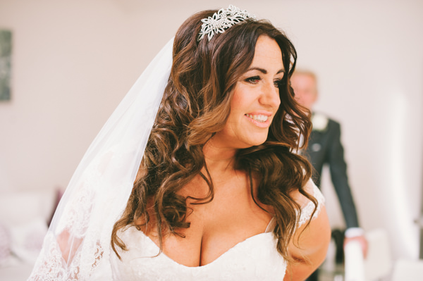 Home Grown White Flower Filled Wedding Long Curl Wavy Hair Bride Style http://www.alextentersphotography.co.uk/
