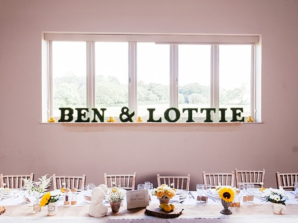 Quirky Rustic Lemon Yellow Wedding Moss Letters Words Bride Groom http://www.motifphoto.co.uk/