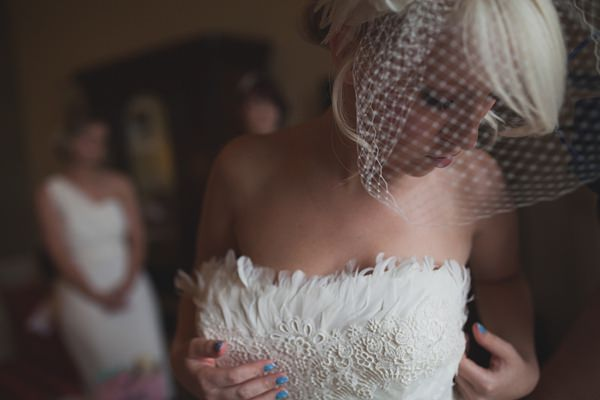 Royal Blue Vintage Glamour Wedding Pronovias Feather Dress Bride  http://www.sallytphotography.com/