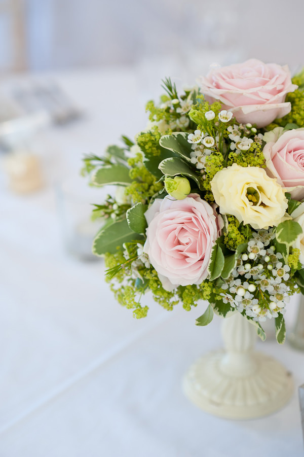 Pretty Country Garden Wedding Pink Rose Table Flowers Centrepiece http://fionasweddingphotography.co.uk/