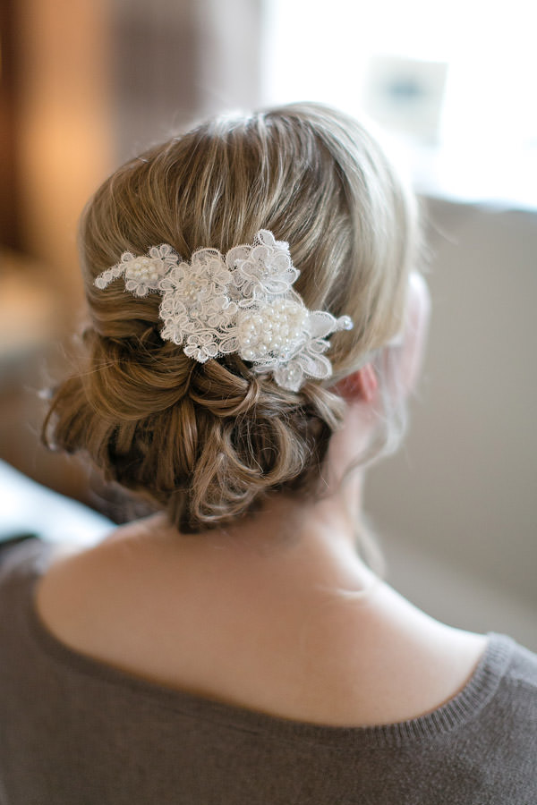 Bride Hair Style Up Do Chignon Accessory Magical Romantic Pink Green Fairy Lights Wedding http://www.touchphotography.co.uk/