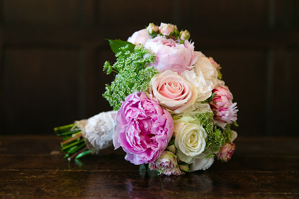 Bridal Bouqet Flowers - hydrangeas, pink peonies, white dill, sweet avalanche rose, green bell Magical Romantic Pink Green Fairy Lights Wedding http://www.touchphotography.co.uk/