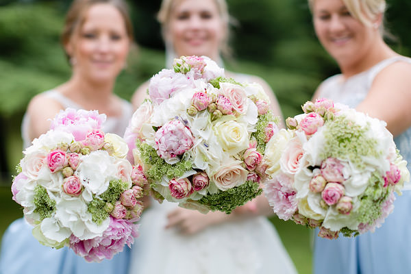 Bridal Bridesmaids Bouquet Flowers - hydrangeas, pink peonies, white dill, sweet avalanche rose, green bell Magical Romantic Pink Green Fairy Lights Wedding http://www.touchphotography.co.uk/