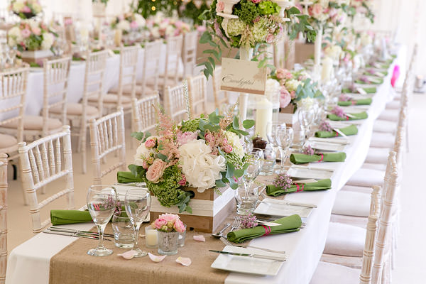 Magical Romantic Pink Green Fairy Lights Wedding Hessian Crates Marqiee Long Tables http://www.touchphotography.co.uk/