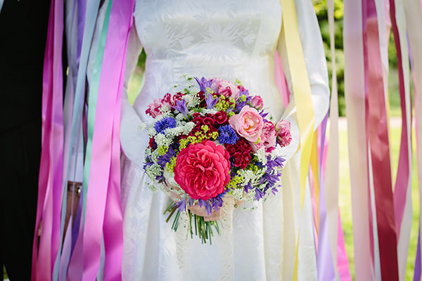 Colourful  Flowers Bouquet Bridal Outdoor Blooms Ribbons Wedding Ideas http://www.paperangelphotography.co.uk/
