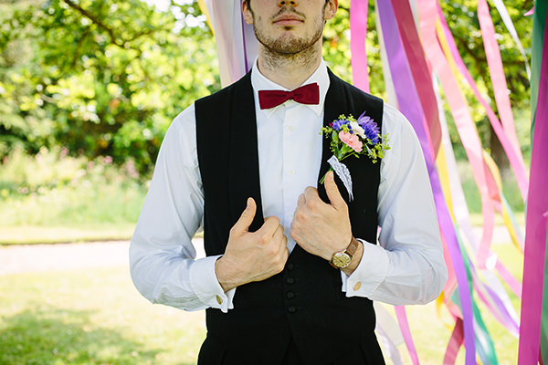 Colourful Outdoor Blooms Ribbons Wedding Ideas http://www.paperangelphotography.co.uk/