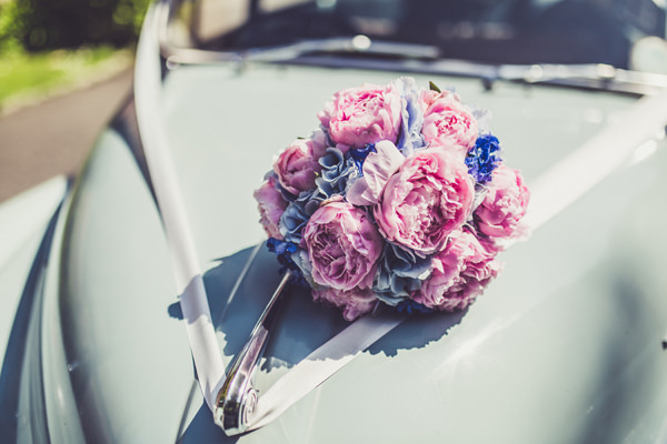 Peony Hydrangea Flowers Bouquet Bride Bridal Pink & Blue Alice in Wonderland Wedding http://www.clairepenn.com/