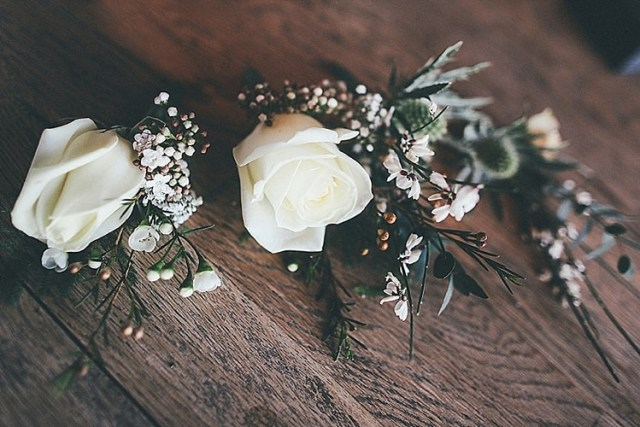 Rose Buttonholes Whimsical Green White Fairy Lights Winter Wedding http://jesspetrie.com/