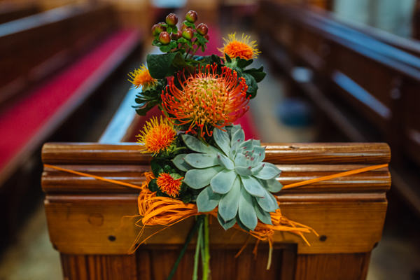 Succulent Church Flowers Pew Ends Origami Retro Vintage Autumn Wedding http://jamesandlianne.com/