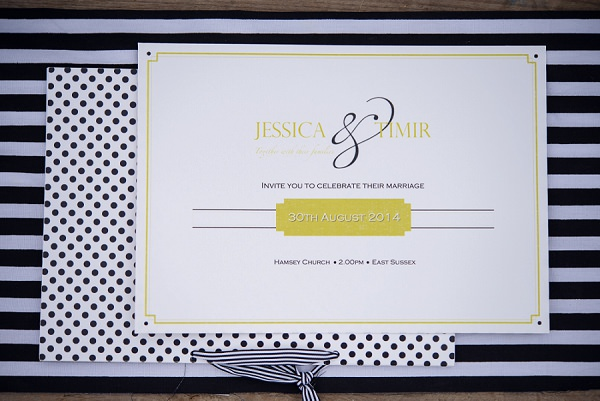 Spot Stripe Stationery Invitations Stylish Modern Monochrome Village Hall Wedding http://www.sarareeve.com/