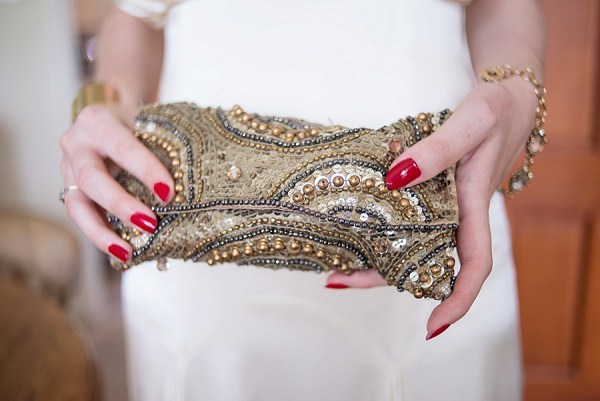 Sequin Glitter Sparkle Bag Bride Bridal Clutch Accessory Red Nails Stylish Modern Monochrome Village Hall Wedding http://www.sarareeve.com/