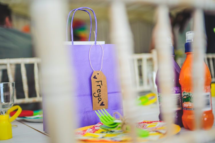 Kids Children Favours Goodie Bags Bright Multicolour DIY Skater Village Hall Herefordshire Wedding http://www.robfarrellphotography.co.uk/