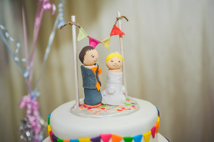 Bride Groom Cake Topper Bright Multicolour DIY Skater Village Hall Herefordshire Wedding http://www.robfarrellphotography.co.uk/