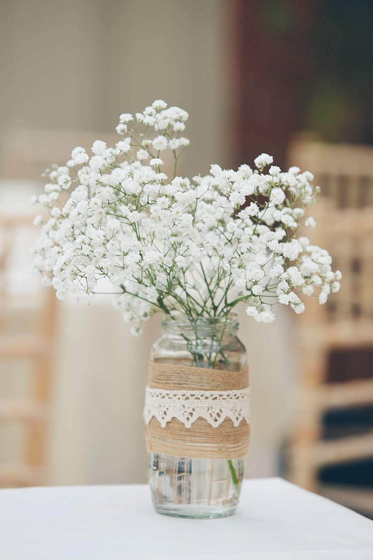 Gyp Gypsophila Baby Breath Jars Hessian Lace Flowers Relaxed Happy Classic Pink Afternoon Tea Wedding http://www.firsthandphotography.co.uk/
