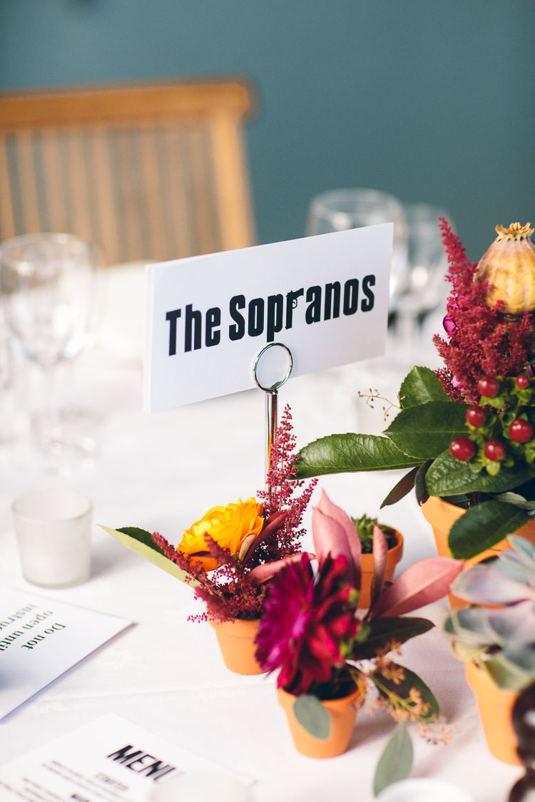 TV Box Set Table Names Cotswolds Barn Laid Back Stylish Wedding http://albertpalmerphotography.com/