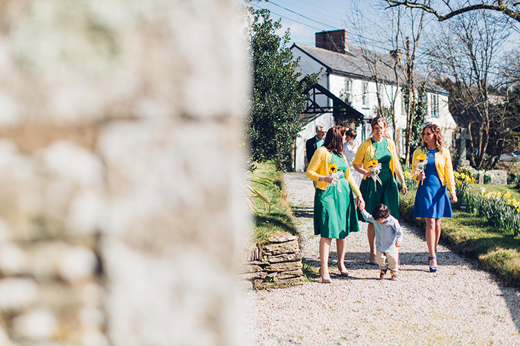Bridesmaid Dresses Short Cardigans Chilled DIY Beach Front Cafe Cornwall Yellow Blue Wedding http://missgen.com/