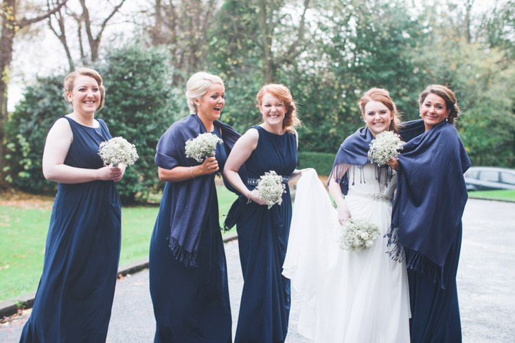 Navy Blue Bridesmaid Dresses Long White Natural Friendly Glasgow Hall Wedding http://www.photographychantal.co.uk/