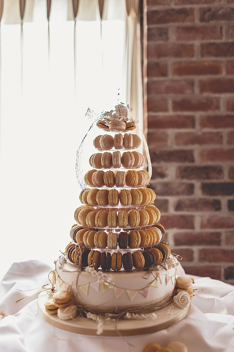 Macaron Cake Tower Yellow Rural Rustic Relaxed Barn Wedding http://annaclarkephotography.com/