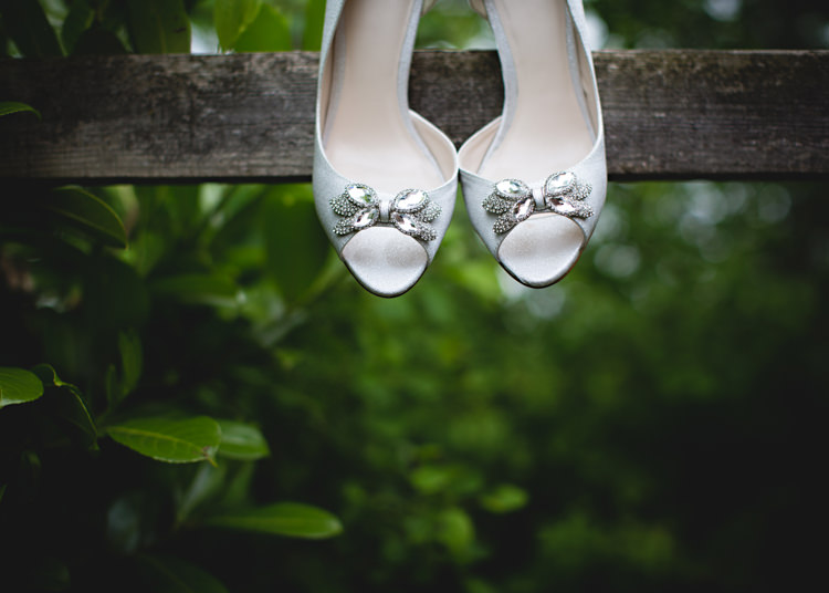 Bow Shoes Sequin Peep Toes Bride Creative DIY Outdoor Tipi Field Wedding http://hbaphotography.com/