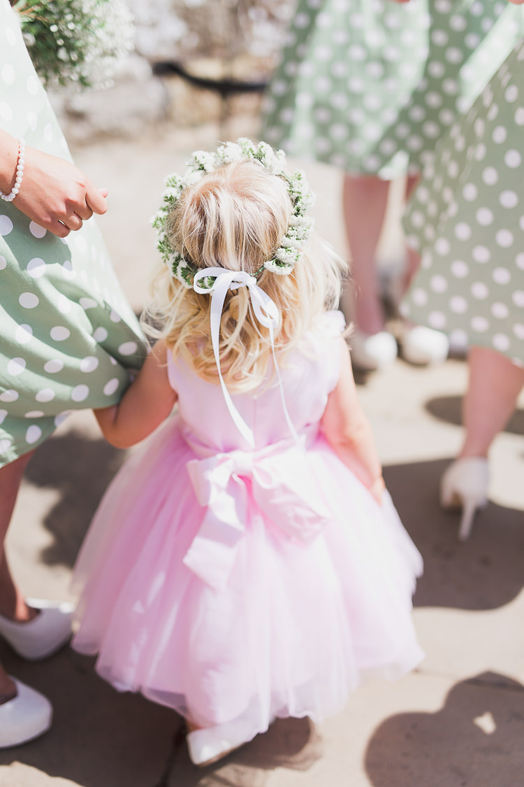 Flower Girl Pink Dress Flower Crown Tweed Bow Ties Fresh Country Pink Green Wedding http://www.whitestagweddings.com/