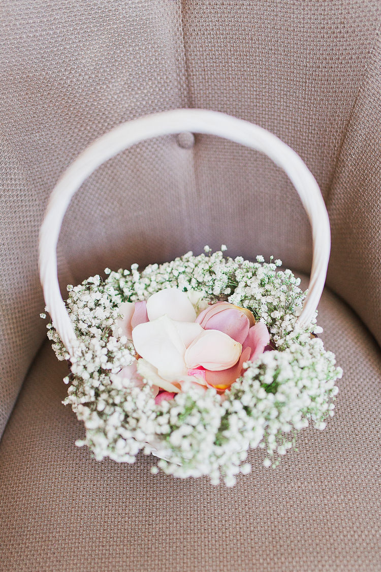 Flower Girl Petal Basket Tweed Bow Ties Fresh Country Pink Green Wedding http://www.whitestagweddings.com/