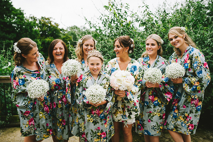 Bridesmaid Bride Dressing Gowns Floral Local Fun Home Made Marquee Wedding http://www.alextentersphotography.co.uk/