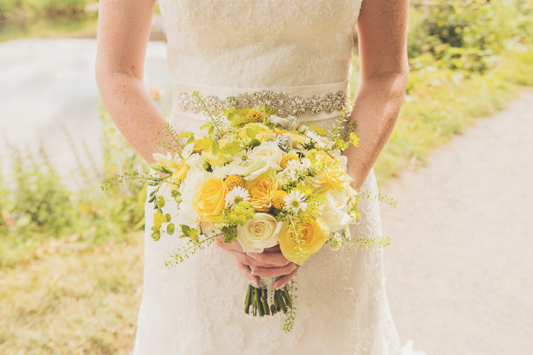 Rose Daisy Gerbera Bouquet Flowers Bride Bridal Quirky Relaxed Yellow Country Wedding http://www.mr-and-mrs-wedding-photography.co.uk/