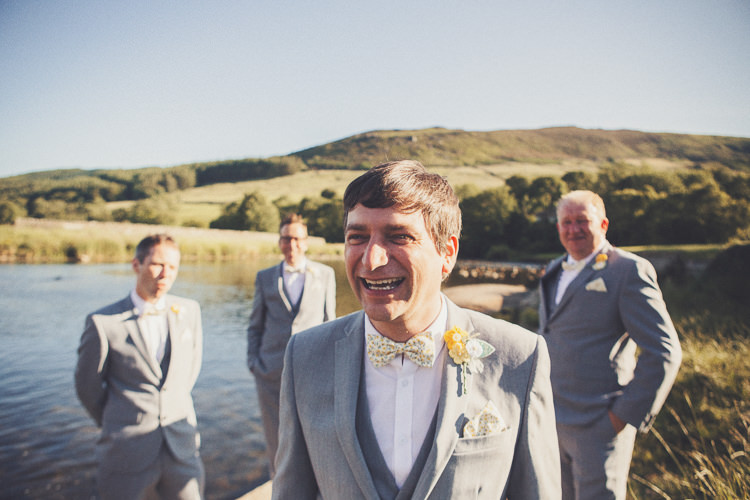 Grey Suit Bow Tie Groom Next Mrs Bowtie Quirky Relaxed Yellow Country Wedding http://www.mr-and-mrs-wedding-photography.co.uk/