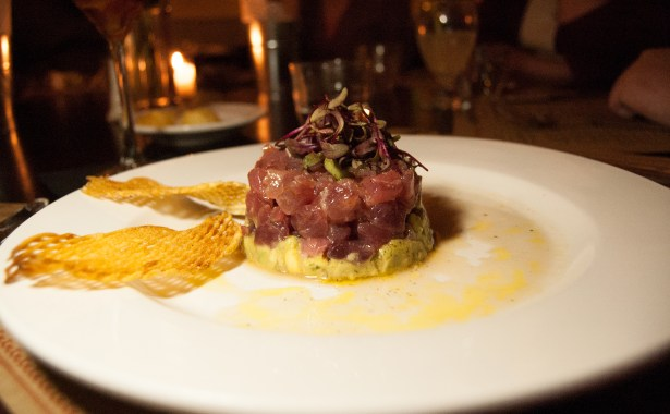 Ahi Tuna Tartare - with spicy avacodo and waffle crisps- le Manhattan Bistro