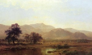 Moat Mountain and the North Conway Ledges from the Saco River by Hermann Traugott Louis Fuechsel