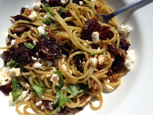 Veggie Pasta with Sun Dried Tomato and Feta