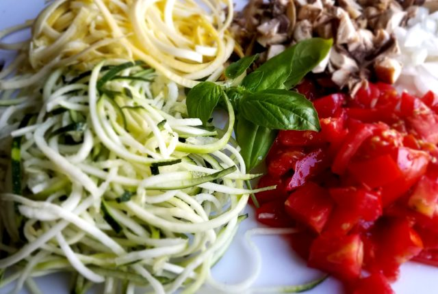Fresh Ingredients for Zucchini and Summer Squash Pasta