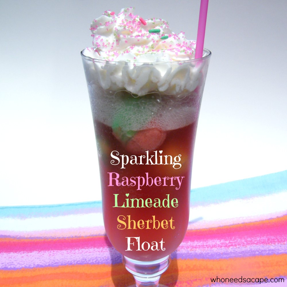 Sparkling Raspberry Limeade Sherbet Float - Who Needs A Cape?