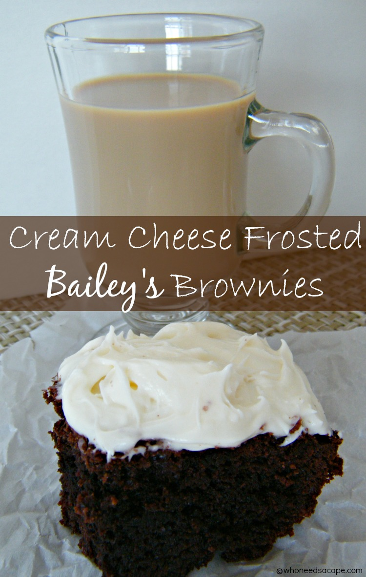Cream Cheese Frosted Bailey's Brownies | Who Needs A Cape?