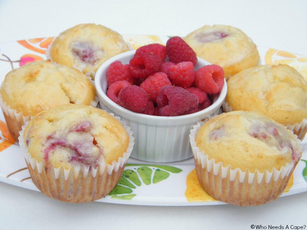 Lemon-Glazed Raspberry Muffins-Who Needs A Cape?