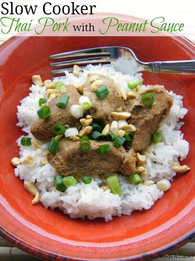 Slow Cooker Thai Pork with Peanut Sauce